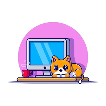 Nette katze und computer cartoon icon illustration. tier-technologie-symbol-konzept isoliert. flacher cartoon-stil