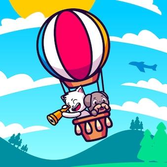 Nette katze und hund fliegen mit heißluftballonkarikaturillustration