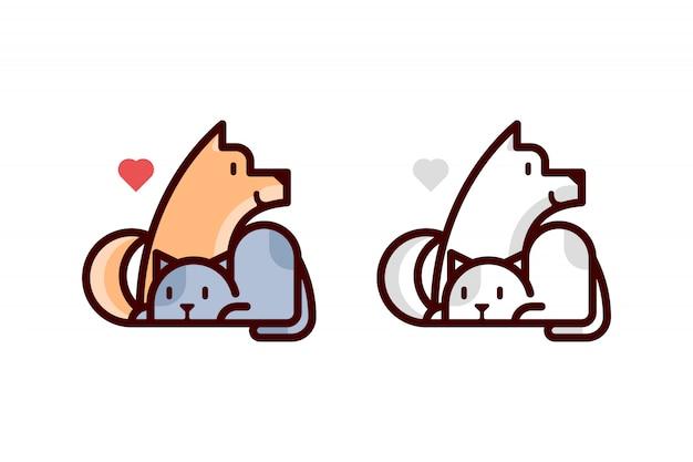 Nette katze und hund lieben cartoon logo