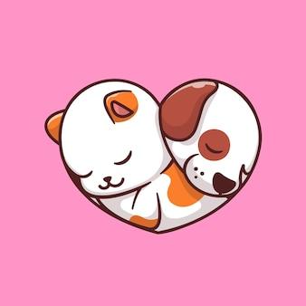 Nette katze und hund schlafen, zeichentrickfigur