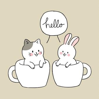 Nette katze und kaninchen der karikatur im schalenkaffee