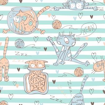 Nette katzen auf gestreiftem muster