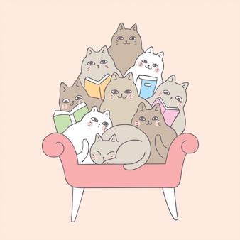 Nette katzen der karikatur, die auf sofa lesen.