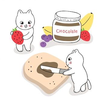 Nette katzen der karikatur machen frühstücks-, brot- und schokoladenvektor.