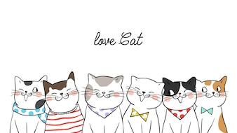 Nette Katzen des Fahnenhintergrund-Porträts auf Weiß