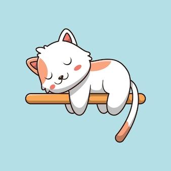 Nette katzen, die auf holz schlafen