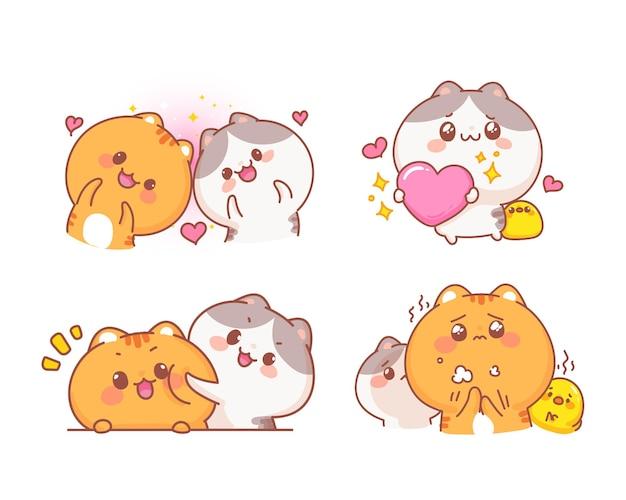 Nette katzen, die in der liebescharakter-karikaturillustration gesetzt werden