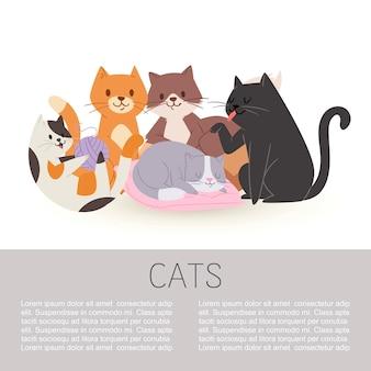 Nette katzen-illustrationsschablone der getigerten katze der zeichentrickfilm-figuren