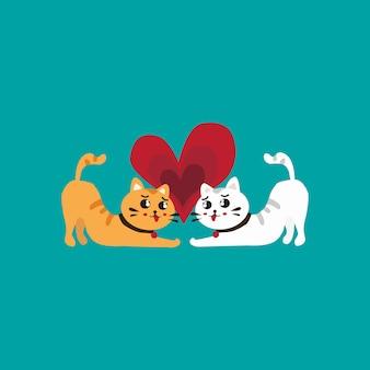 Nette katzen im liebesvalentinsgruß-tagesvektor