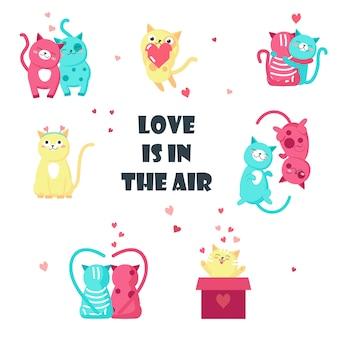 Nette katzen in liebe lokalisierter illustration