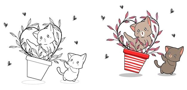 Nette katzen mit herzrebe innerhalb der vase-cartoon-malvorlage