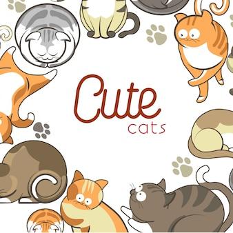 Nette katzen- und kätzchenhaustiere, die flache tiere des vektors spielen oder aufwerfen