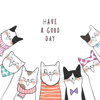 Nette katzen und wort des schablonenhintergrundes haben einen guten tag
