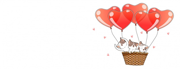 Nette katzencharaktere innerhalb des korbes mit ballonen
