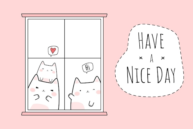 Nette katzenfamiliengrußkarikatur-gekritzelkarte