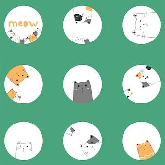 Nette katzenfamilienhand gezeichnet