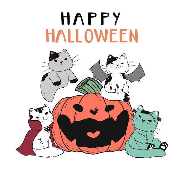 Nette katzenfreund-ganggruppe im halloween-kostüm mit lächeln sehnte sich nach kürbis-gekritzel-kunstelement für aufkleber, planer, grußkarte, druckbare, kinderzimmerwandkunst.