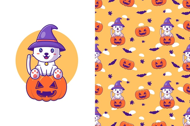 Nette katzenhexe mit kürbis glückliches halloween mit nahtlosem muster