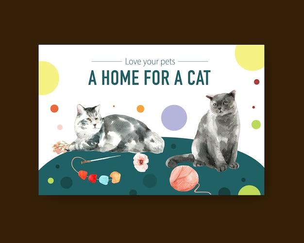 Nette katzenillustration im aquarellstil mit zitat: lieben sie ihre haustiere. bereit zum drucken
