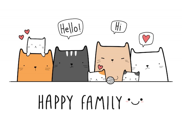 Nette katzenkätzchenfamilien-karikatur-gekritzelfahne