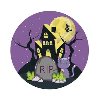 Nette katzenkarikatur halloweens