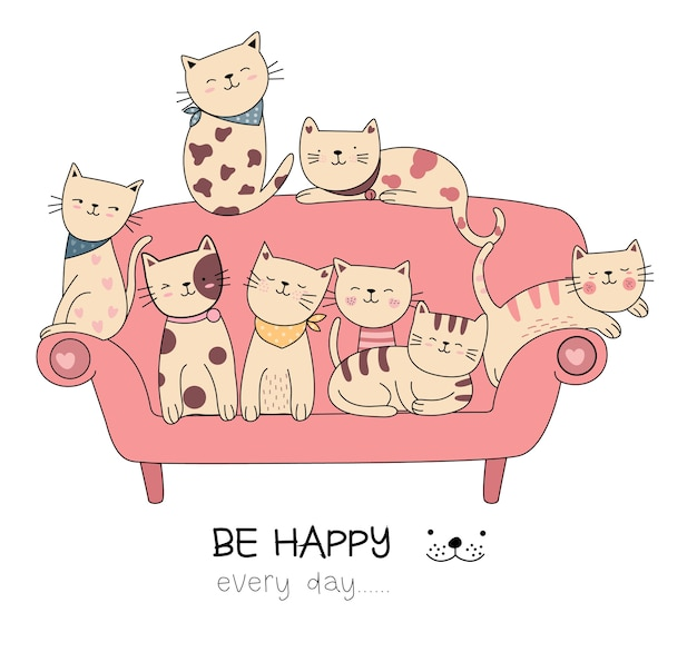 Nette katzenkarikatur mit gezeichneter art des sofas hand