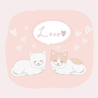 Nette katzenliebhaberpaare mit liebeszeichen-gekritzelkarikatur