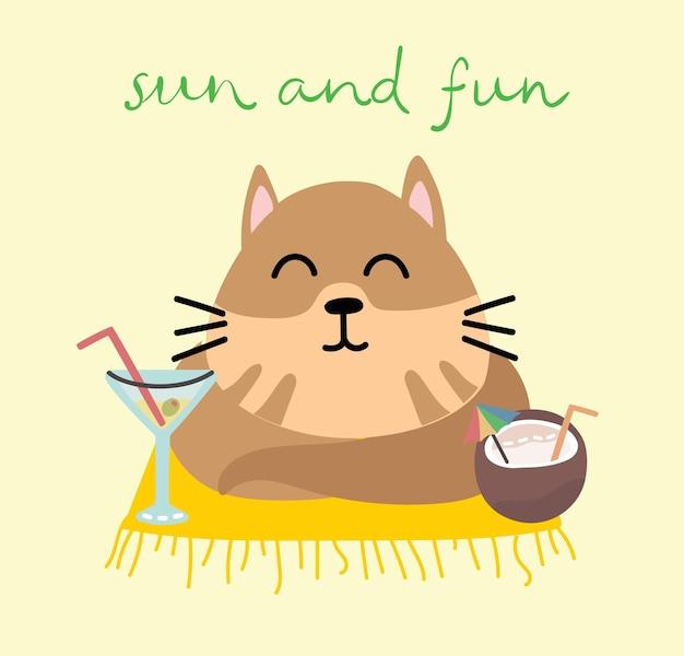 Nette katzenmeerjungfrau am strand, gekritzelillustrationskarten für kinder