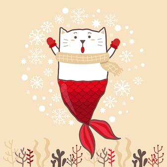 Nette katzenmeerjungfrau, die einen schnee spielt