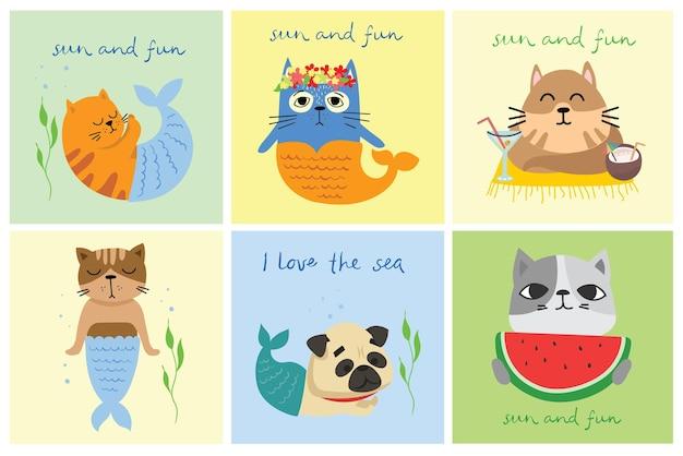 Nette katzenmeerjungfrauen auf den strandgekritzelillustrationskarten für kinder