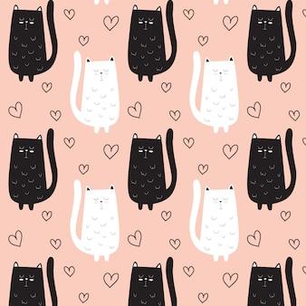 Nette katzenmusterhand gezeichnet mit herzen