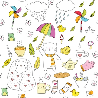 Nette katzenmusterhand gezeichnet