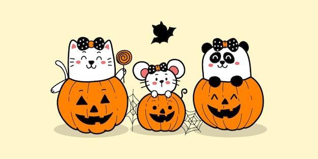 Nette katzenratte und panda der glücklichen halloweenkarikatur in den kürbissen.