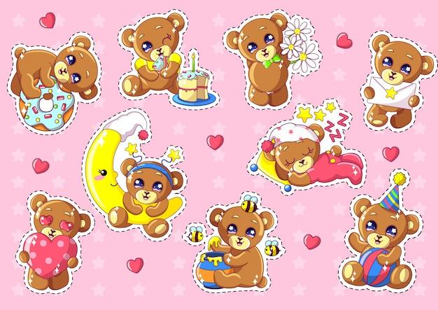 Nette kawaii bären-charaktere eingestellt mit gegenständen.