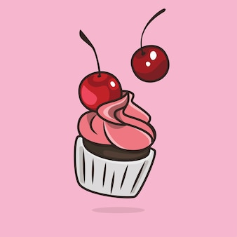 Nette kawaii cupcake illustration