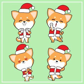 Nette kawaii hand gezeichneter shiba inu hundecharakter mit weihnachtshut-sammlung