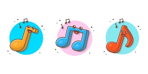 Nette kawaii musik-anmerkungs-ikone ikone. musiknoten, lied, melodie und melodienweiß lokalisiert