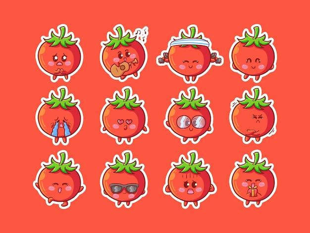 Nette kawaii tomate-charakter-aufkleber-illustration mit verschiedenen glücklichen ausdrucks-aktivitäten für maskottchen