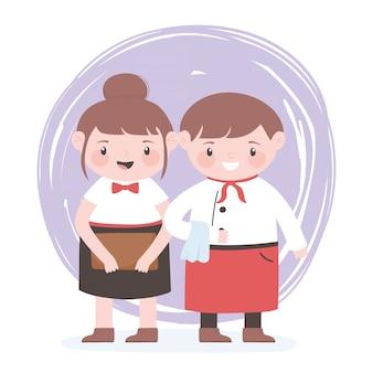 Nette kellnerin weibliche und männliche professionelle zeichentrickfigur