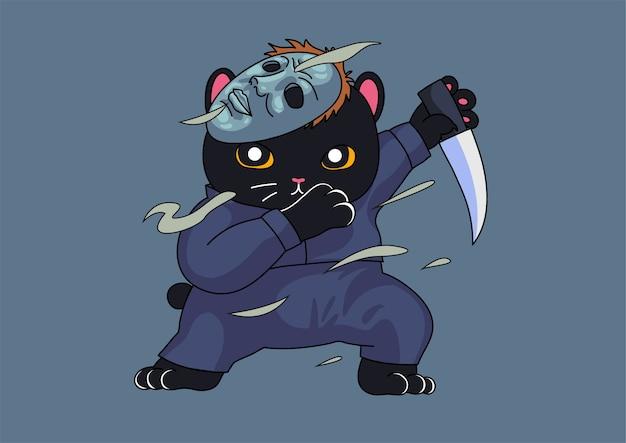 Nette killerkatze, die halloween-maskottchen tupft
