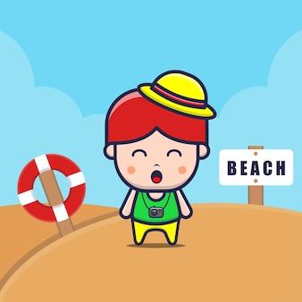 Nette kinder auf der strandkarikaturillustration