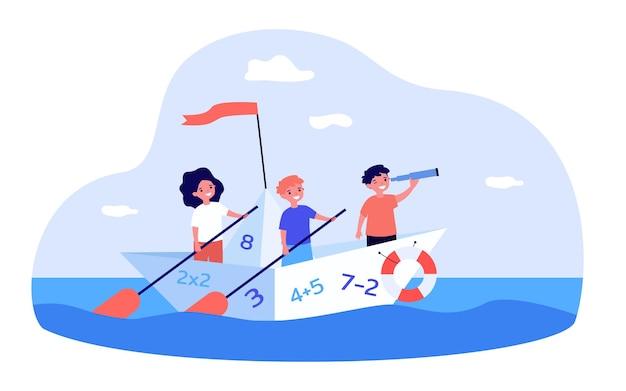 Nette kinder, die auf boot mit zahlen segeln mathe, studie, flache vektorillustration des meeres. bildungs- und erkundungskonzept für banner, website-design oder landing-webseite
