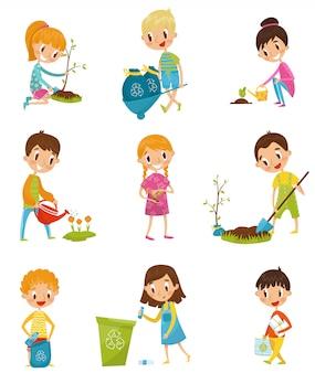 Nette kinder, die gartenarbeit und das aufheben des müllsatzes, jungen und mädchen pflanzen und junge bäume illustrationen auf einem weißen hintergrund pflanzen
