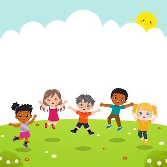 Nette kinder, die im garten spielen und springen. flacher cartoon-stil