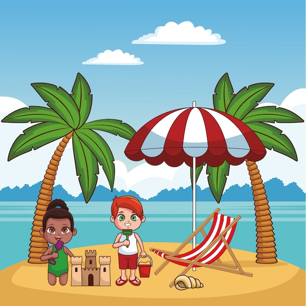 Nette kinder, die spaß am strandkarikaturvektor-illustrationsgrafikdesign haben