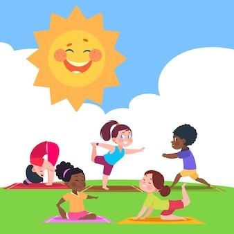 Nette kinder, die yoga am morgen in der naturillustration tun