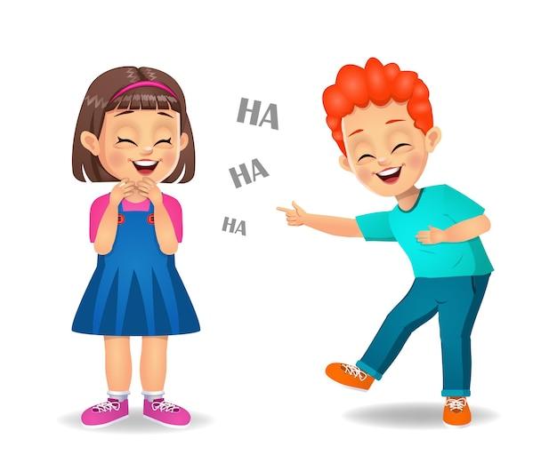 Nette kinder, die zusammen lachen