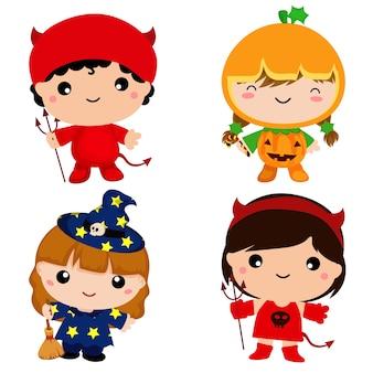 Nette kinder im halloween-kostümsatz