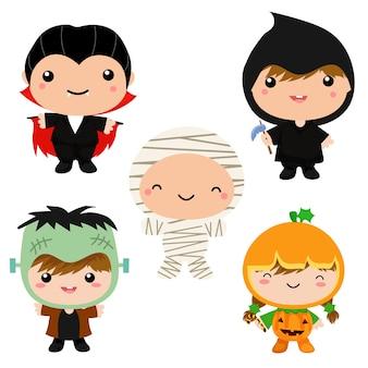 Nette kinder in der halloween-kostümsammlung