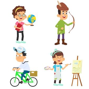 Nette kinder in verschiedenen berufen eingestellt. lächelnde kleine jungen und mädchen in uniform mit bunten illustrationen der professionellen ausrüstung